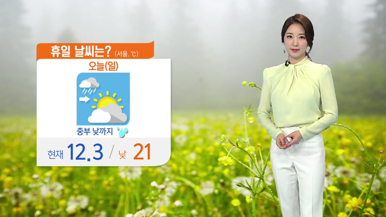 [날씨] 중부 낮까지 빗방울, 한낮 따뜻한 봄