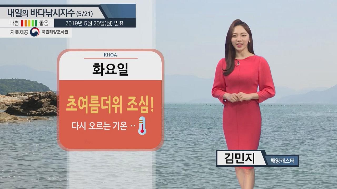 [내일의 바다낚시지수]5월 21일 동해 제주 초속 10m 강한 바람 높은 물결 안전 유의