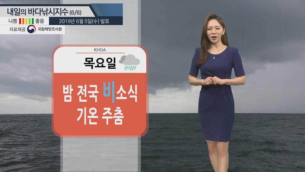 [내일의 바다낚시지수]6월6일 제주도,남해안,서해 강한 바람 천중번개 소식 출조 유의 바람