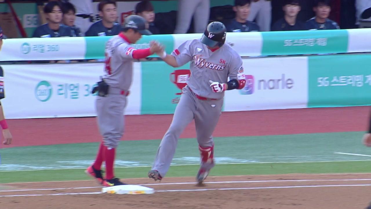 '최정 15호 홈런' SK, kt 제압