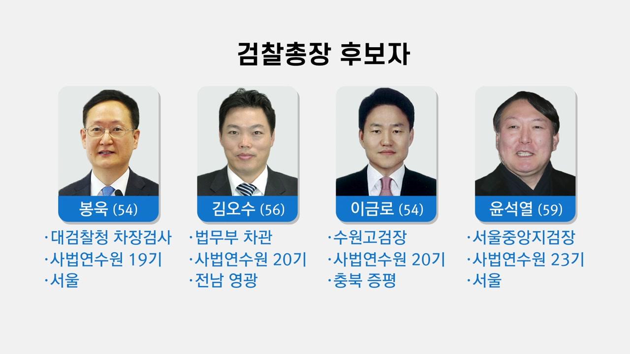 文 정부 두 번째 검찰총장 후보 '4파전' 압축...봉욱·김오수·이금로·윤석열
