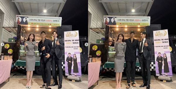 김수현, 아이유·여진구 '호텔 델루나' 촬영장 방문...'특급 의리'