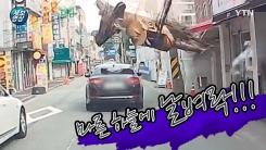 [제보영상]승용차 위로 떨어진 중장비...위험천만 '아찔'