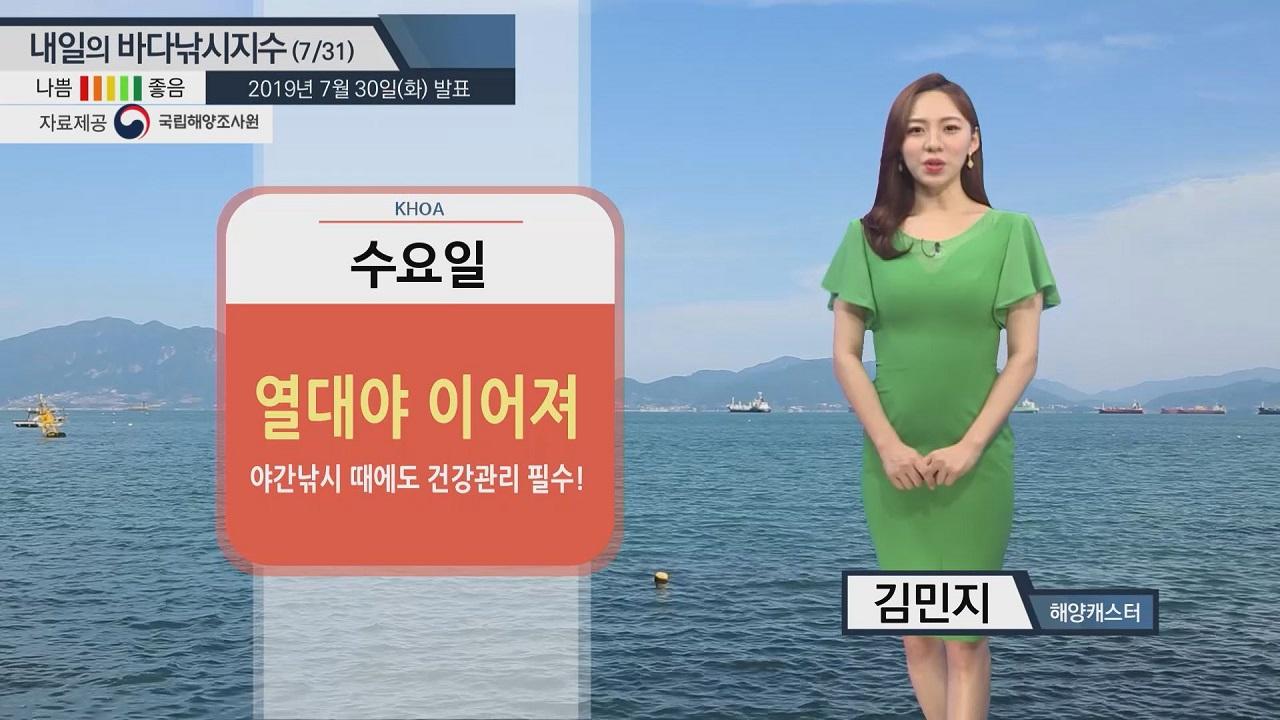 [내일의 바다낚시지수] 7월 31일 제주, 서귀포 낚시 삼박자 갖춰 '파란불'...성산포 강풍