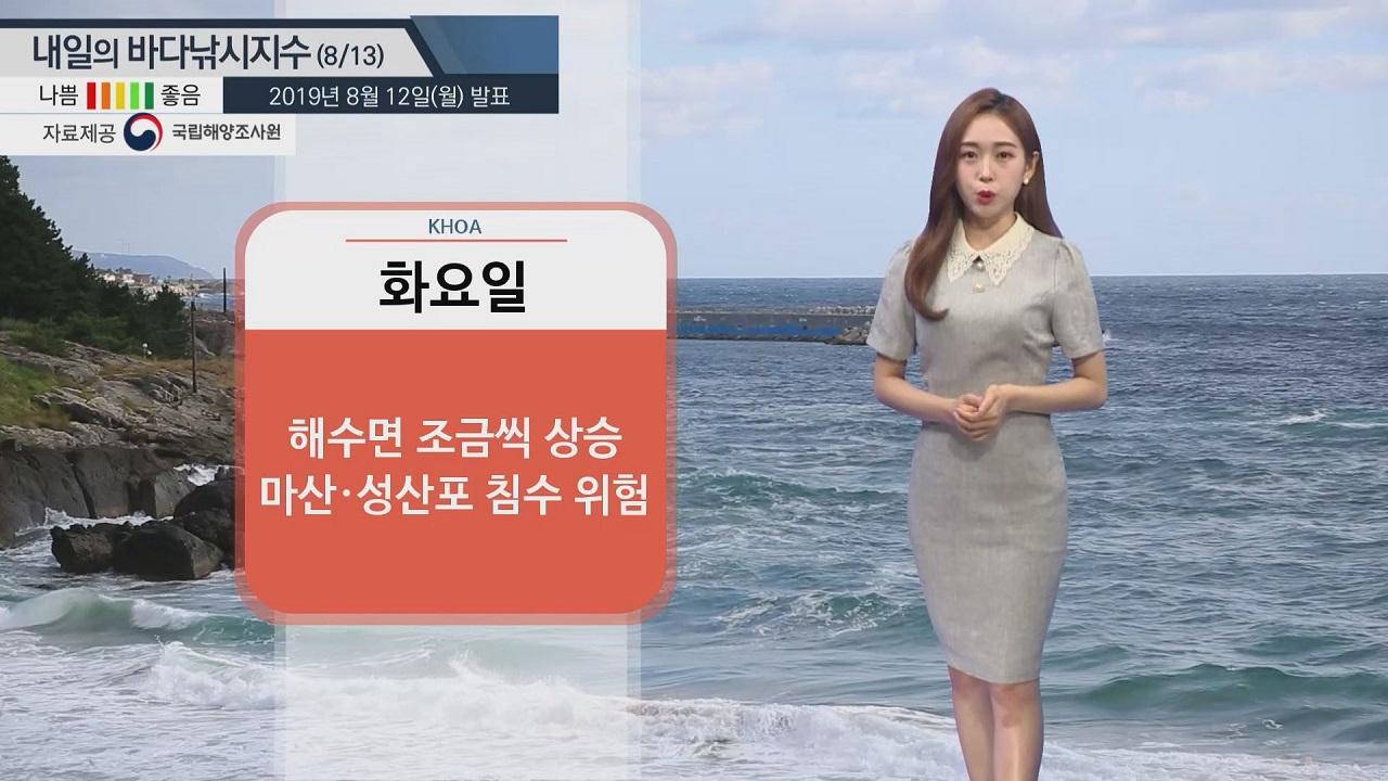 [내일의 바다낚시지수]8월13일' 대조기 '제주 성산포 침수 위험도 높아... 저지대 주위