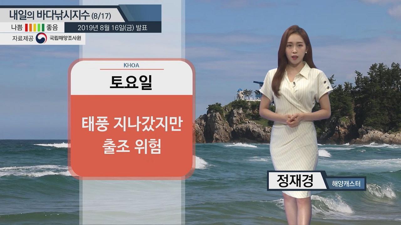 [내일의 바다낚시지수] 8월17일 전 해역 파고 1m 예상 뜨거운 수온도 활동을 방해할 듯