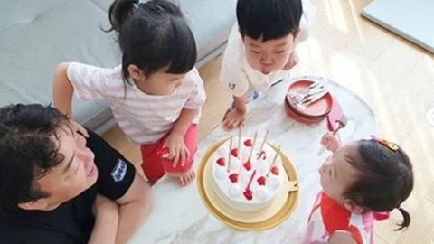 """""""아빠 축하해요""""...백종원♥소유진, 세 자녀와 행복한 생일파티"""