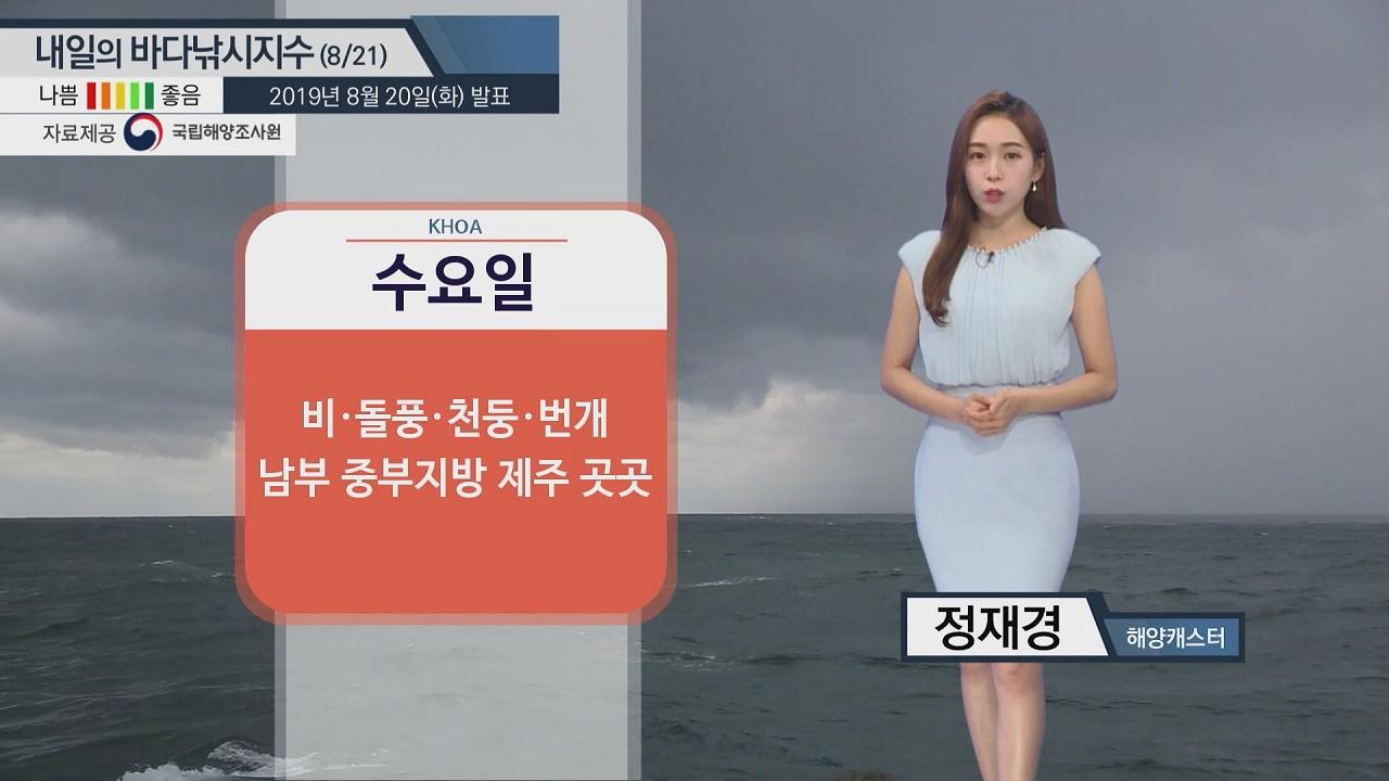 [내일의 바다낚시지수]8월21일 남해안 중심 궂은 해황... 황해 안전한 활동 가능할 듯