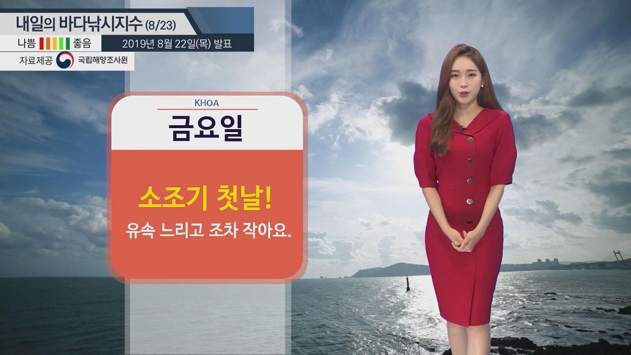 [내일의 바다낚시지수] 8월23일 대체로 '나쁨' 지수...높은 수온, 물때 영향 클 듯