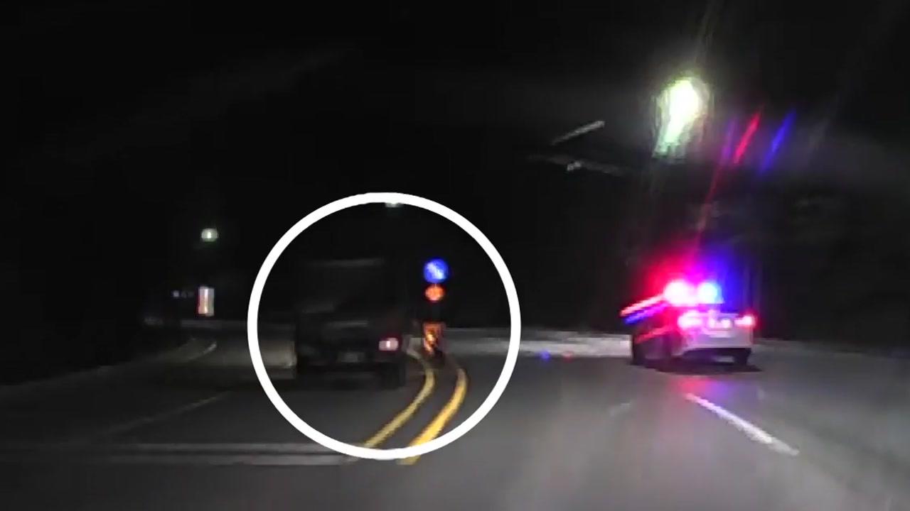 [영상] 살해 미수 피의자와 경찰의 아찔한 한밤 추격전