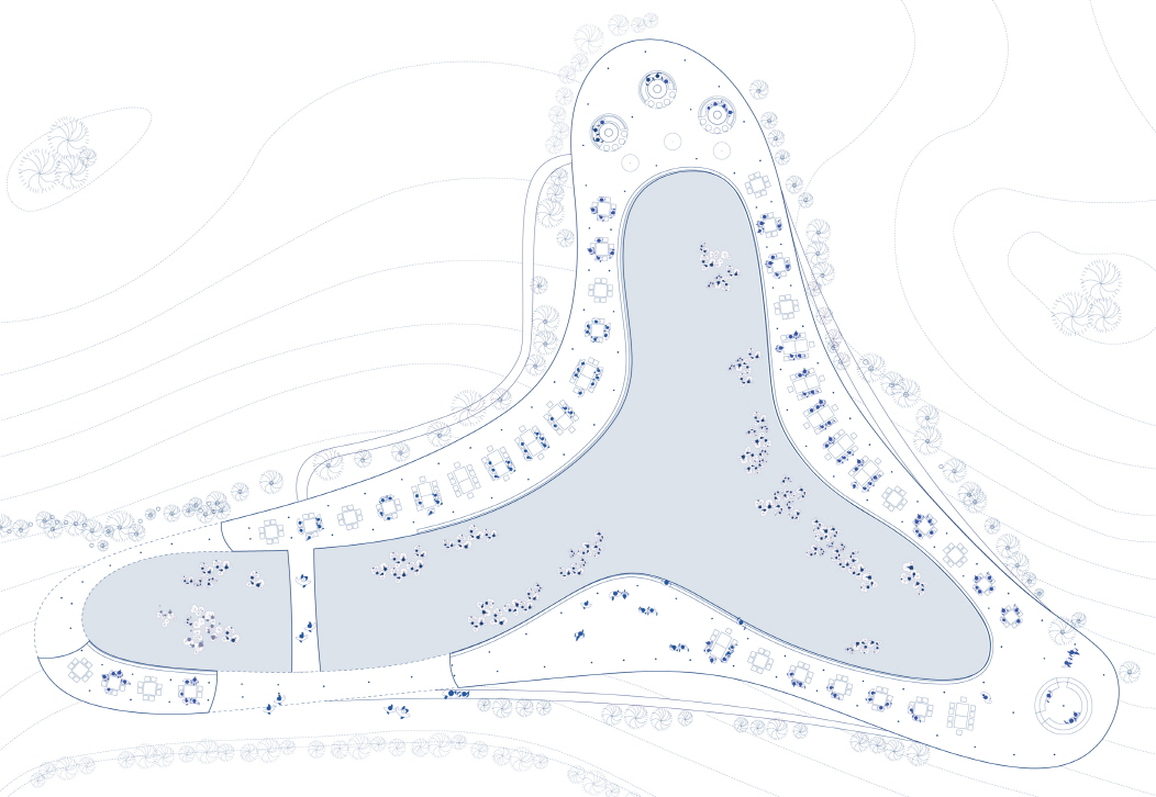 〔안정원의 건축 칼럼〕 유칼립투스 숲과 호수와의 조화로움을 추구한 자유 곡선형 구조물 1