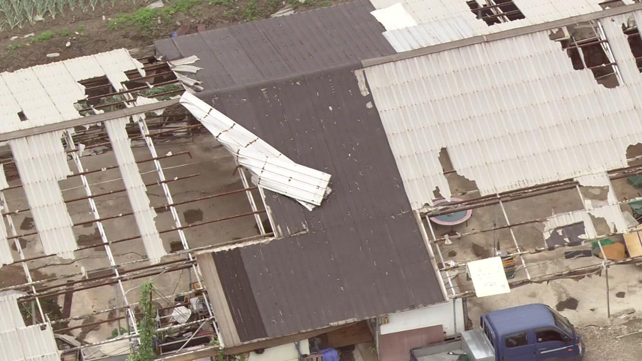 헬기에서 본 태풍 피해 현장...곳곳 생채기