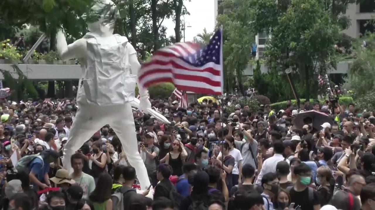 """'규모 축소' 14번째 주말 시위...""""美 홍콩 인권법안 통과"""" 촉구"""