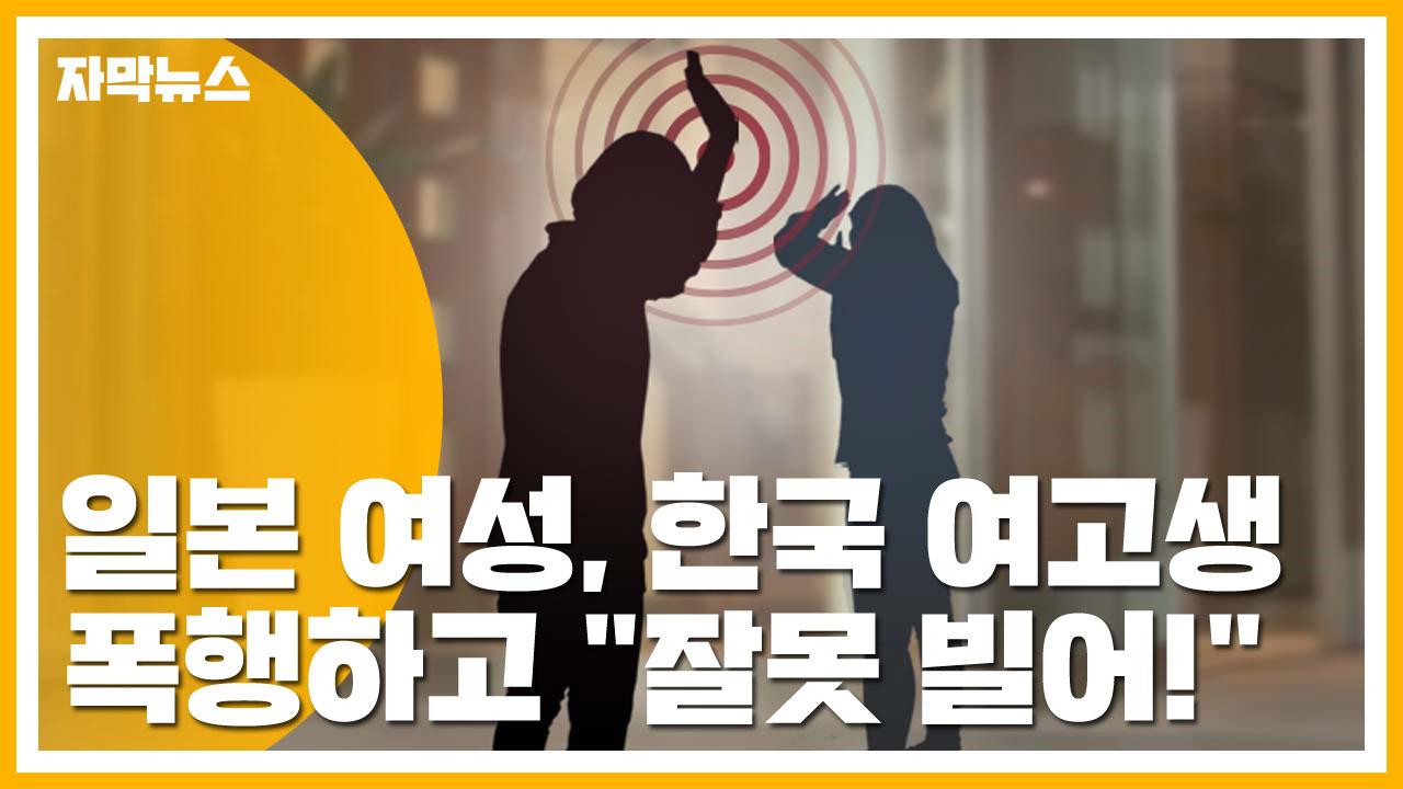 """[자막뉴스] 일본 여성, 한국 여고생 폭행하고 """"잘못 빌어!"""""""