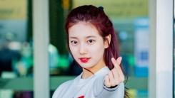 수지, 레드 스커트 잡고 깜찍 포즈…러블리한 출국