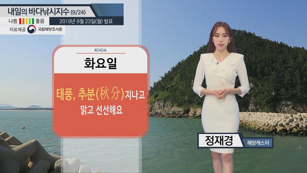 [내일의 바다낚시지수] 9월24일 동해, 남해상 '풍랑경보' 발효 중... 황해는 안전