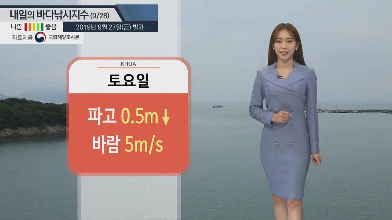[내일의 바다낚시지수] 9월28일 전 포인트 무난...다만 동해안, 제주 평년수온보다 높아