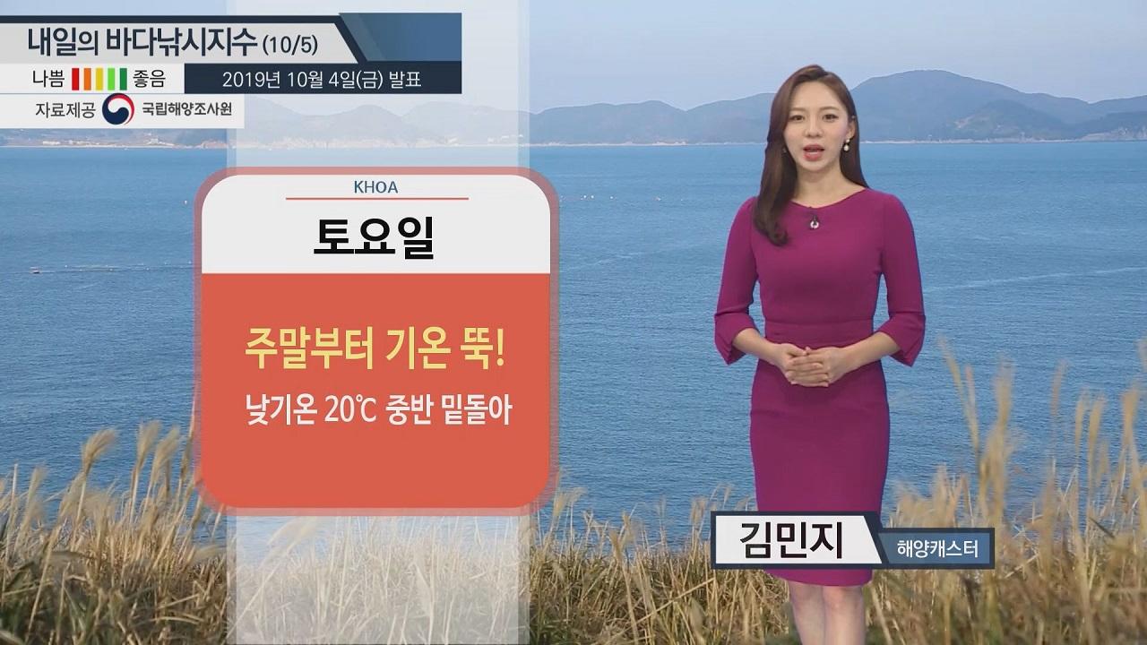 [내일의 바다낚시지수]10월5일 전 해역 보통지수... 서해안 바람 강한 편으로 주의 필요