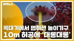 [자막뉴스] 꼭대기에서 멈춰선 놀이기구...10m 허공에 '대롱대롱'