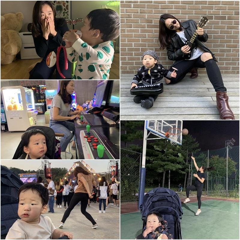 '귀여운 아기 뒤에 시선강탈 엄마'...이미도, SNS 시리즈 화제