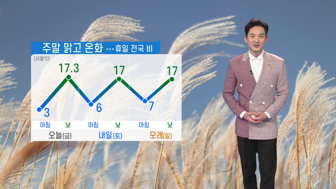 [날씨] 주말 맑고 온화...휴일 전국 비