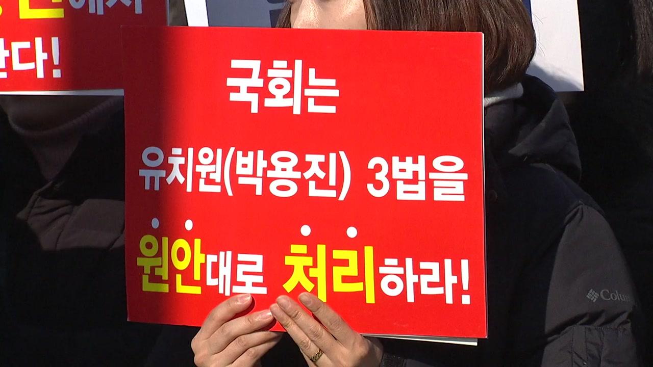 """표결 앞두고 흔들리는 유치원 3법?...""""원안대로 통과돼야"""""""