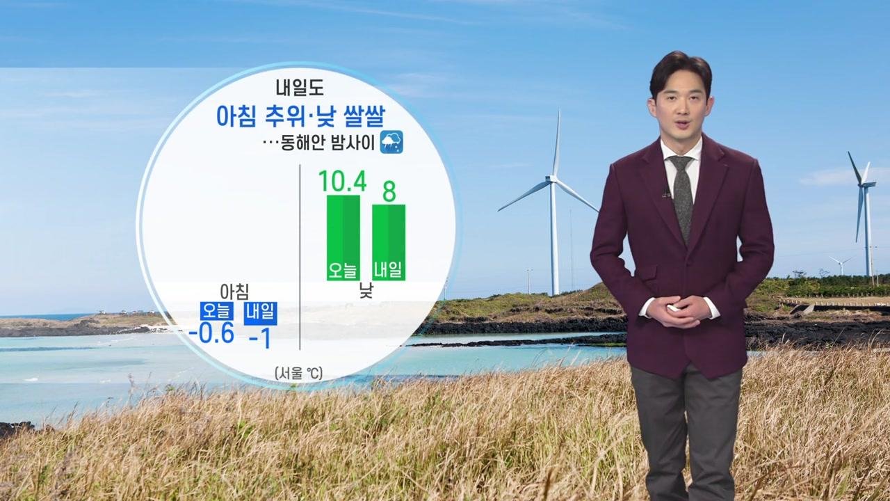 [날씨] 내일도 아침 추위·낮 쌀쌀...동해안 밤사이 비