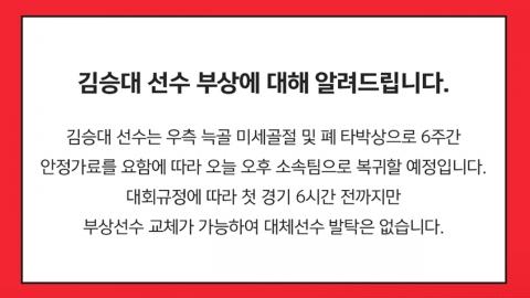 '전치 6주 부상' 김승대, 벤투호 조기 하차...대체 발탁 없어