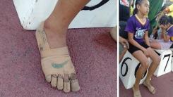 붕대로 만든 '나이키' 신발 신고 금메달 딴 필리핀 11살 육상선수