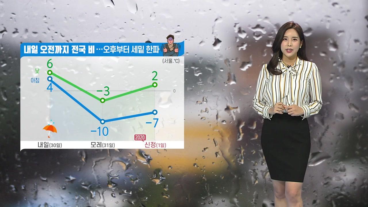 [날씨] 내일 오전까지 비...그친 뒤 강력한 세밑 한파