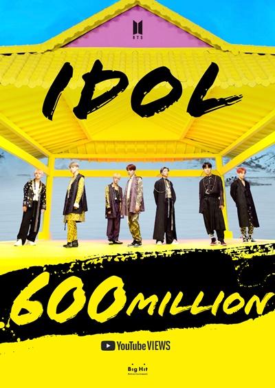 방탄소년단, 'IDOL' 뮤비로 여섯 번째 6억뷰…韓 가수 최다