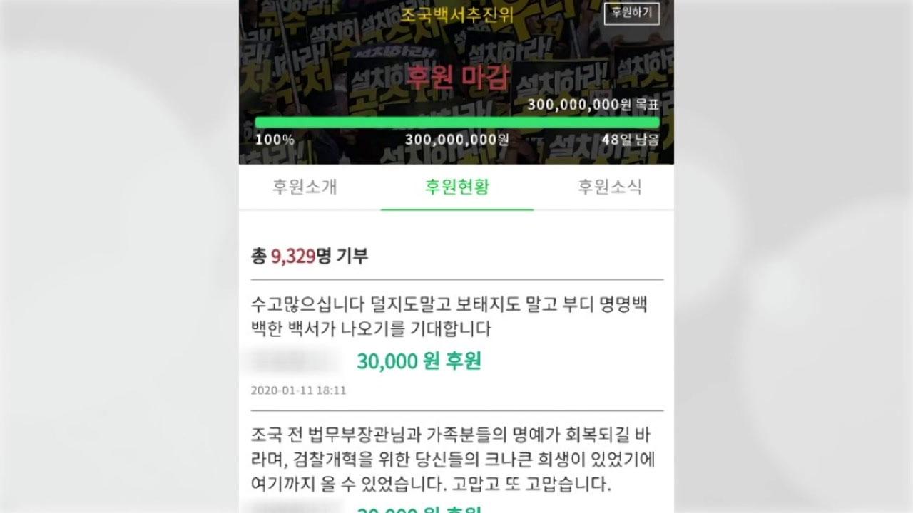 '조국백서' 3억원 후원모금...나흘 만에 마감