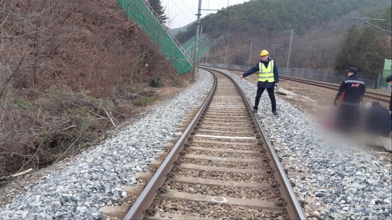 충북 영동군 철길 건너던 70대, 열차에 치여 골절상