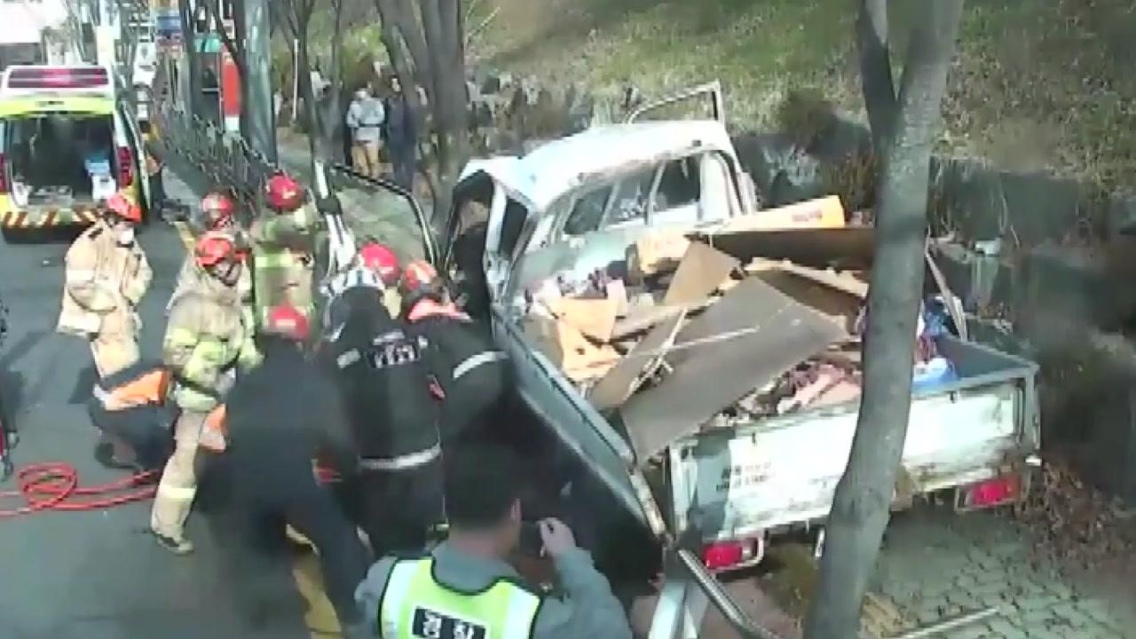 폐목재 실은 트럭 인도로 돌진...2명 다쳐