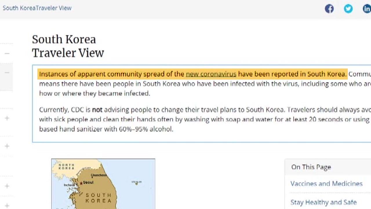 美, 한국 '지역사회 확산국' 분류...타이완도 '韓 여행 경보지역' 지정