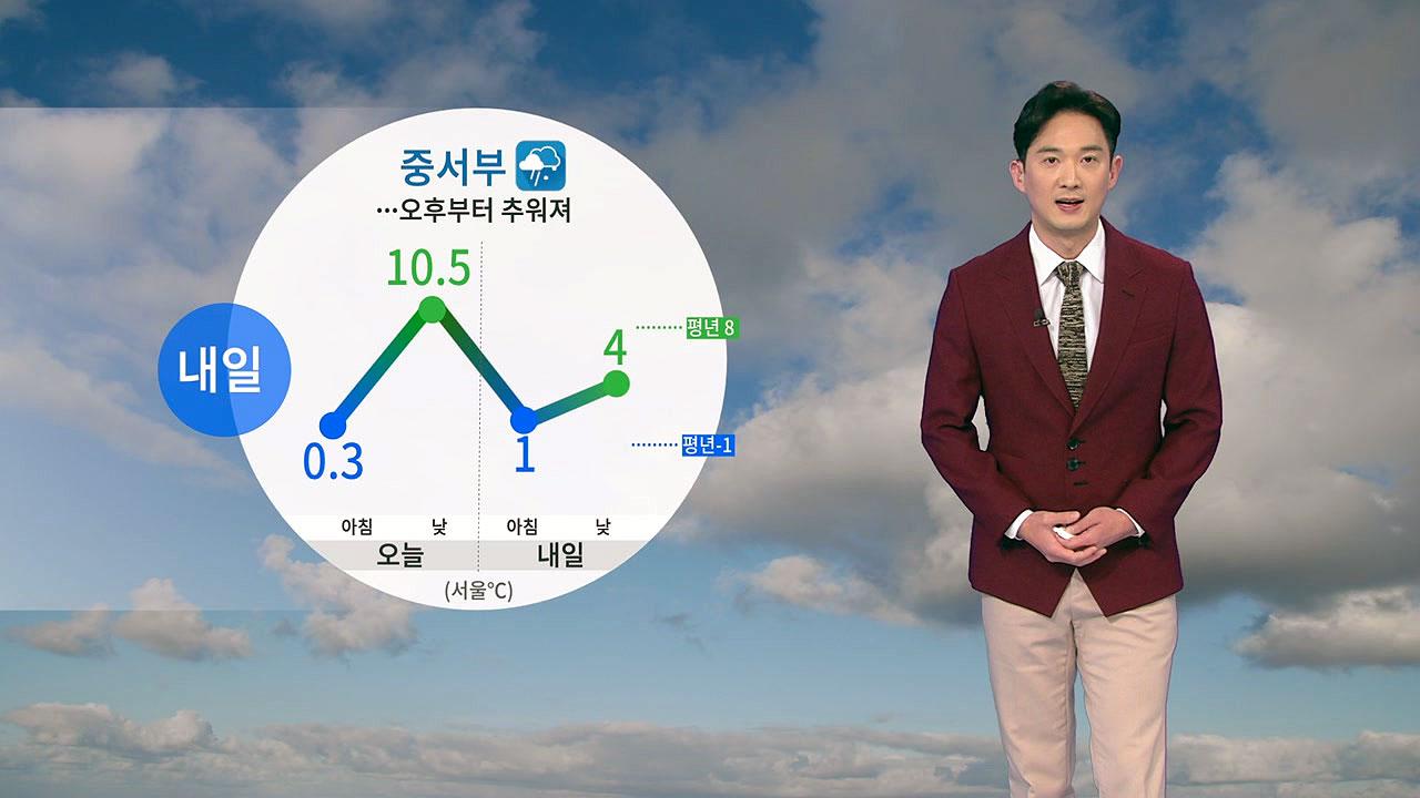 [날씨] 내일 중서부 눈·비...오후부터 추워져