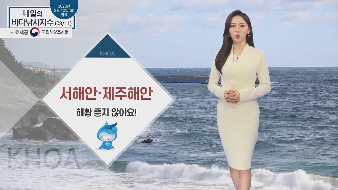 [내일의 바다낚시지수] 3월 11일 해안가 중심으로 강풍특보 발효.. 전해상 풍랑특보 발효
