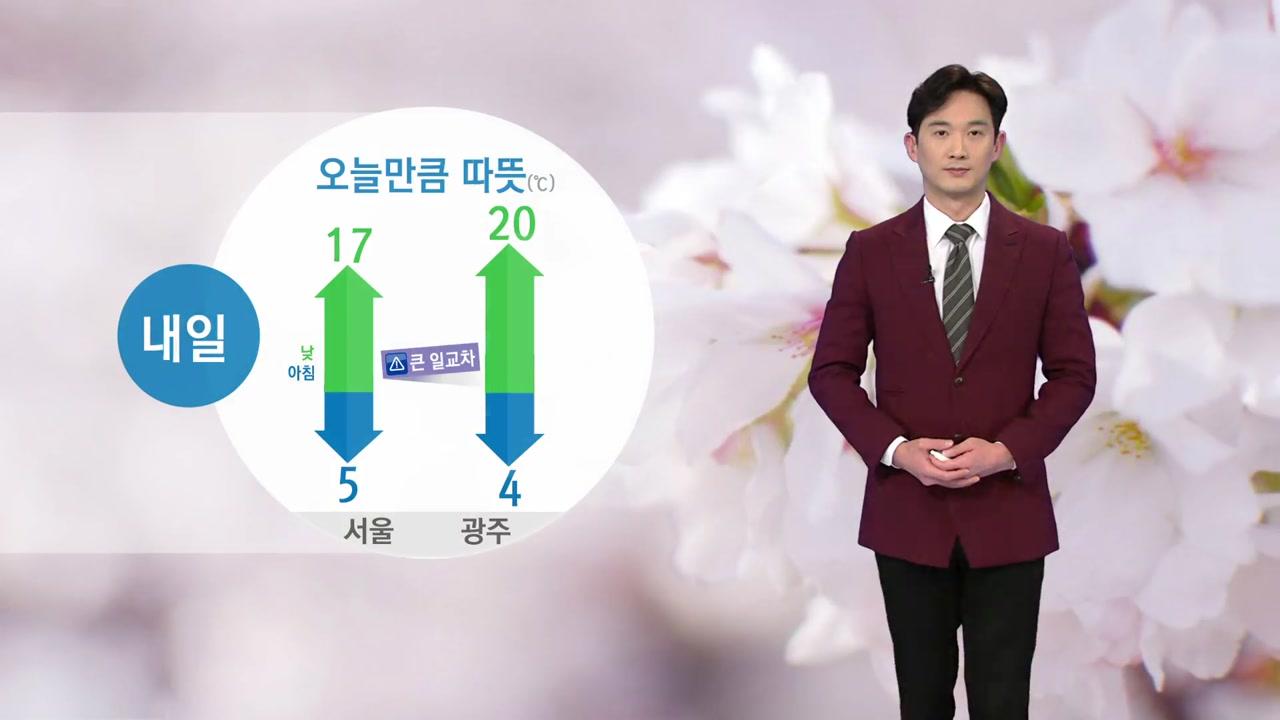 [날씨] 내일, 오늘만큼 따뜻...일교차 대비 옷차림 주의