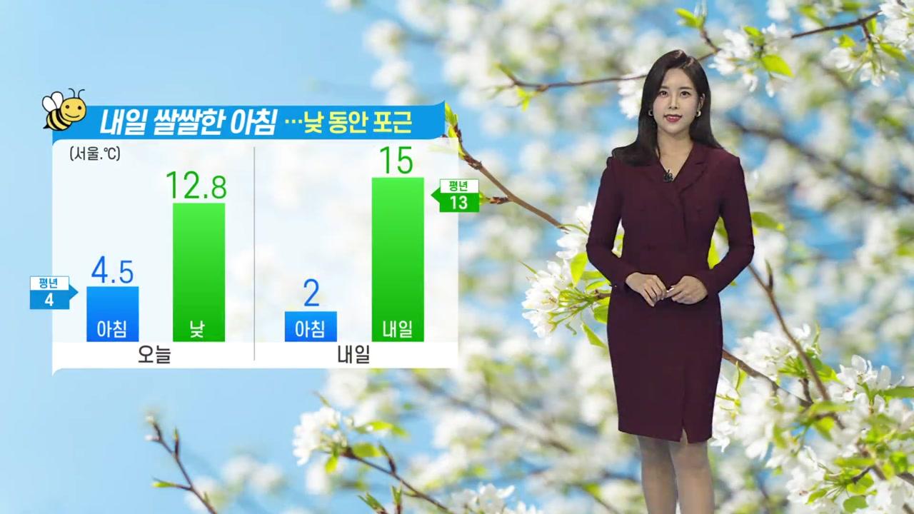 [날씨] 내일 쌀쌀한 아침...낮 동안 포근
