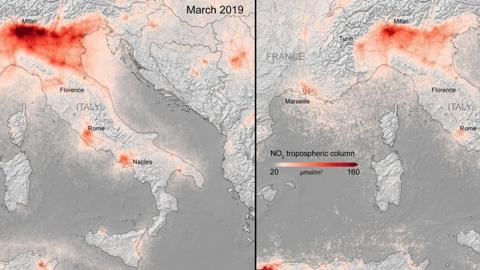 코로나19 역설…감소한 유럽 대기오염 보여주는 사진