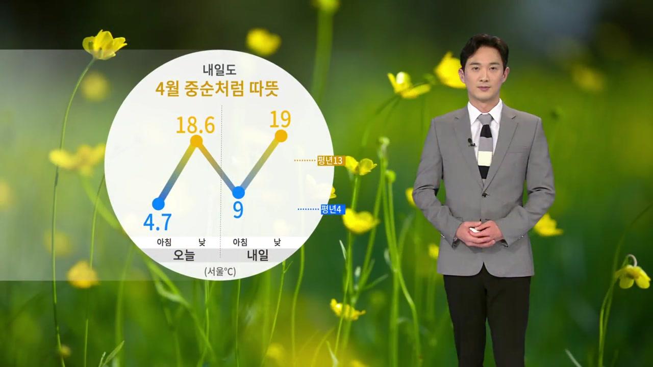 [날씨] 내일도 4월 중순처럼 따뜻...일교차 크게 벌어져