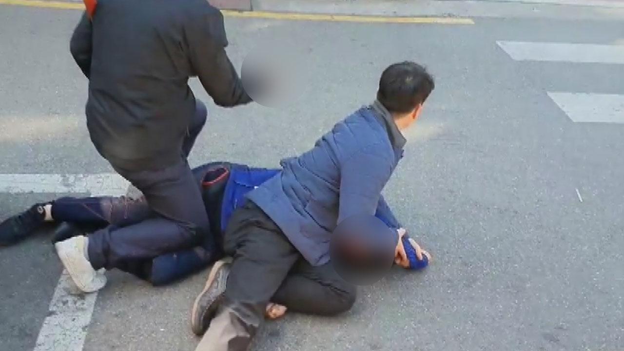 오세훈 유세차량에 흉기 들고 접근한 남성 체포