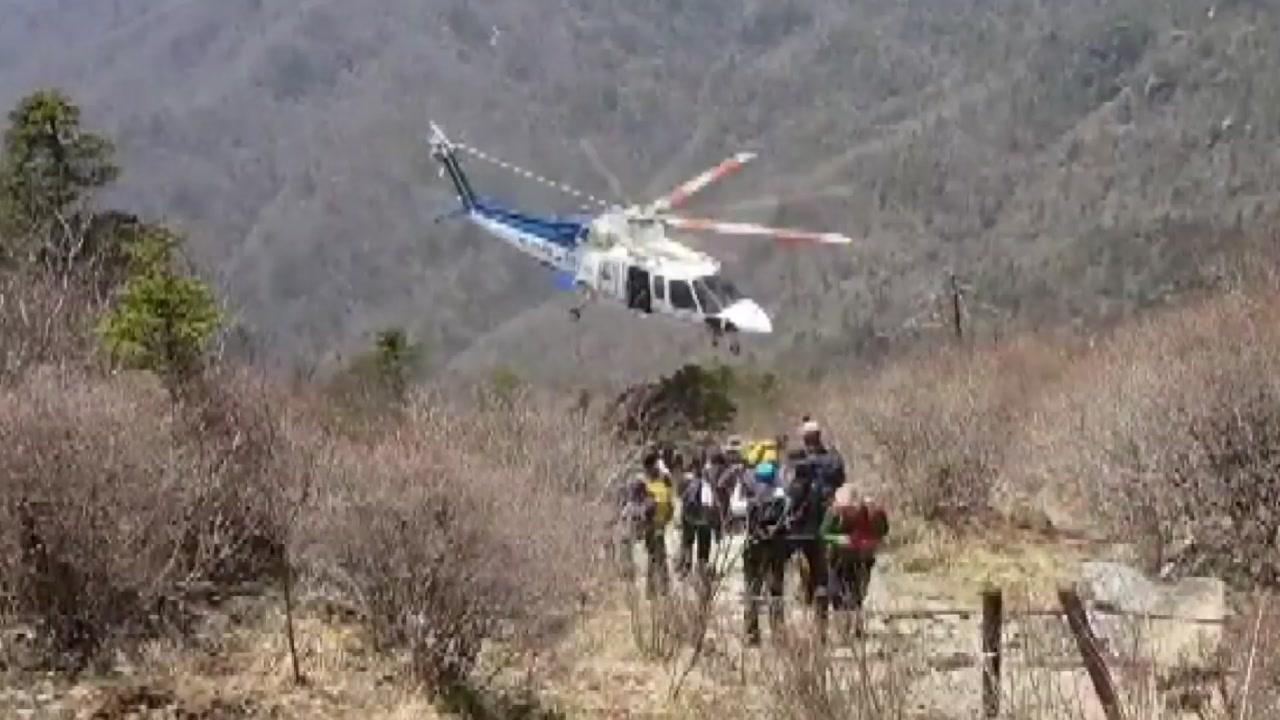 지리산 천왕봉 부근 헬기 추락...추락 당시 화면 입수
