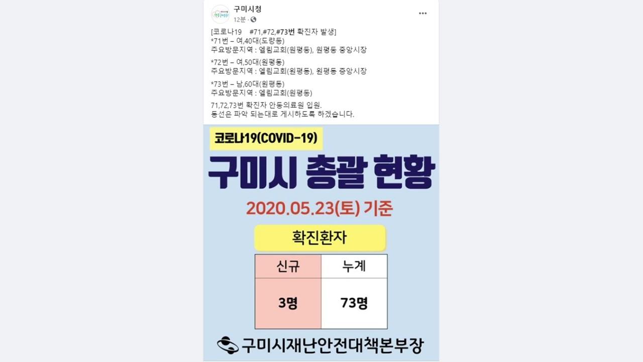 경북 구미서 3명 추가 확진...대구 고3 확진자 연관
