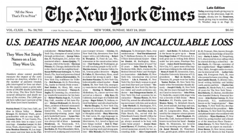 """코로나19 사망자 이름으로 빼곡한 NYT 1면…""""이들이 우리다"""""""