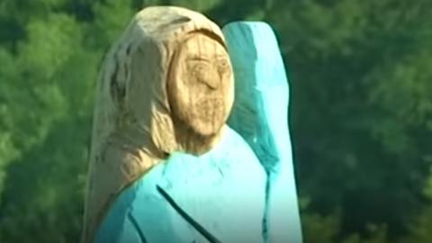슬로베니아에 세워진 '멜라니아 조각상' 방화로 철거