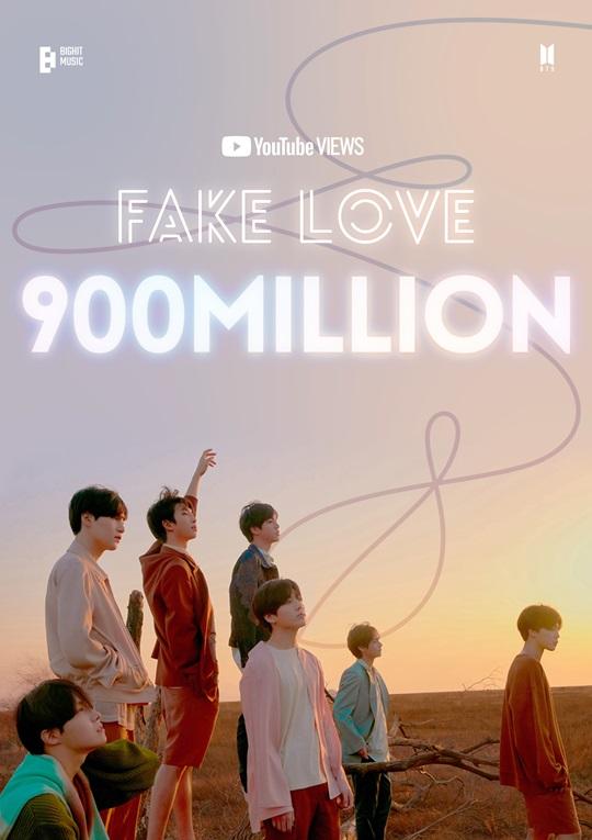 방탄소년단 'FAKE LOVE' 뮤비 9억뷰 돌파 (공식)