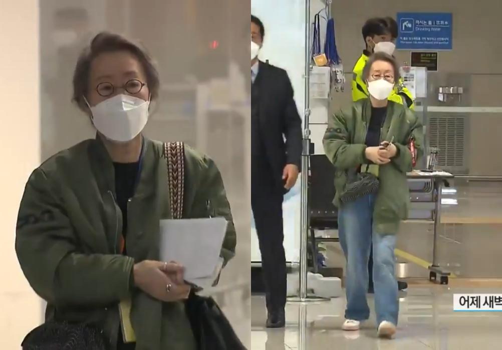 윤여정 '항공점퍼' 패션 화제...원조 패피의 위엄이란 이런 것