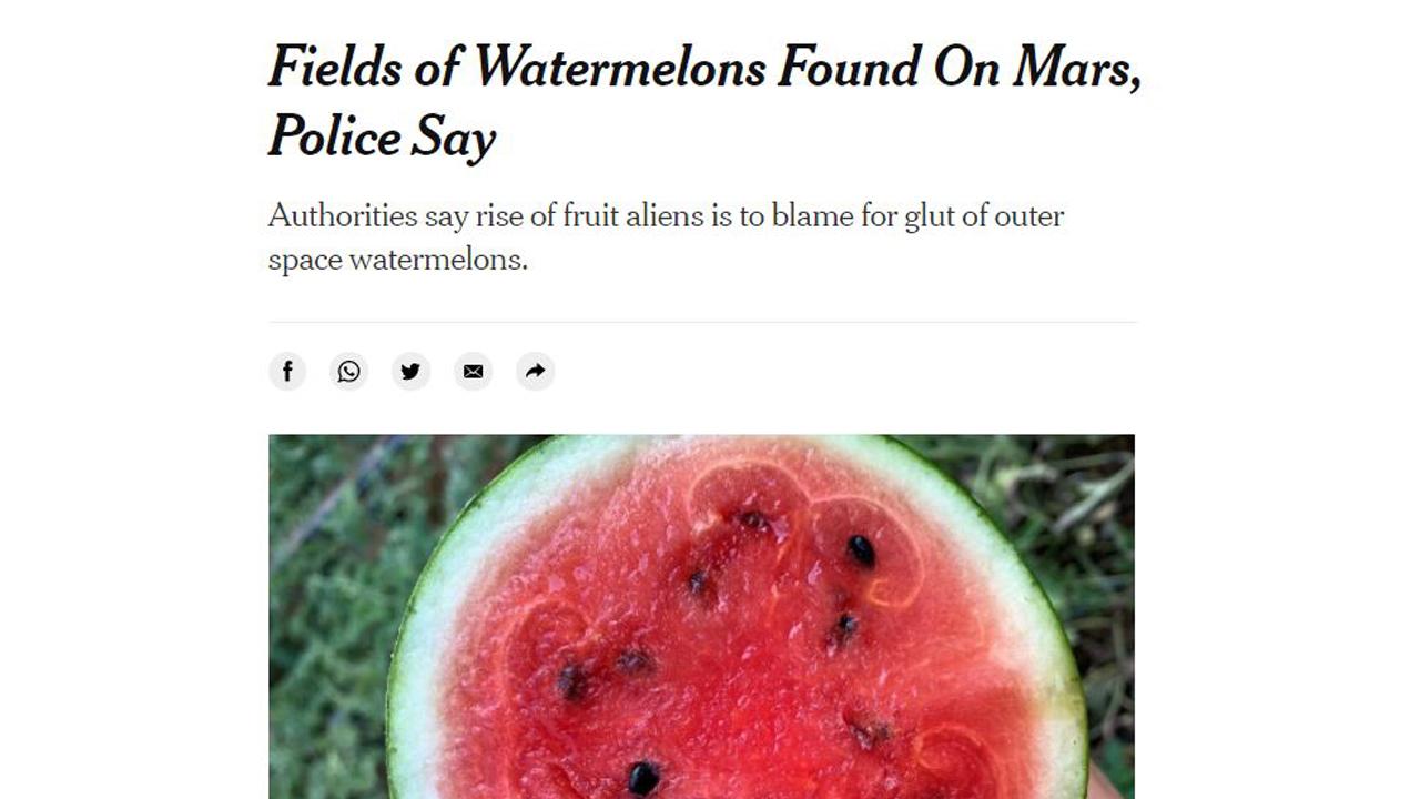"""뉴욕타임스, """"화성에서 수박 발견"""" 기사 냈다 삭제"""