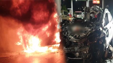 경남 밀양에서 5톤 냉동탑차-SUV 충돌…2명 숨져